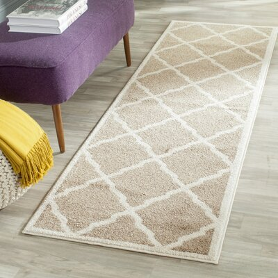 Maritza Trellis Wheat/Beige Indoor/Outdoor Area Rug Rug Size: Runner 23 x 7