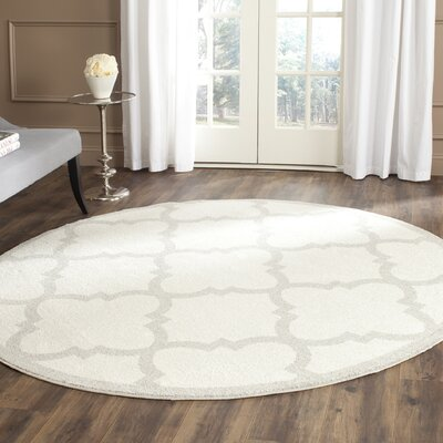 Maritza Beige & Light Gray Indoor/Outdoor Area Rug Rug Size: Round 5