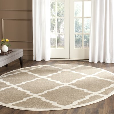 Maritza Trellis Wheat/Beige Indoor/Outdoor Area Rug Rug Size: Round 7