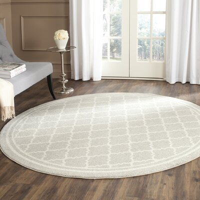 Maritza Light Gray & Beige Indoor/Outdoor Area Rug Rug Size: Round 5