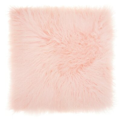 Burel Sheepskin Throw Pillow Color: Pink