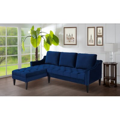 Pamila Reversible Sectional Upholstery: Navy Blue