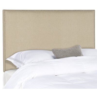 Farringdon Upholstered Wingback Headboard Size: Full, Color: Hemp, Upholstery: Linen
