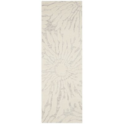 Mcguire Hand-Tufted Silver/Ivory Area Rug Rug Size: Runner 23 x 7