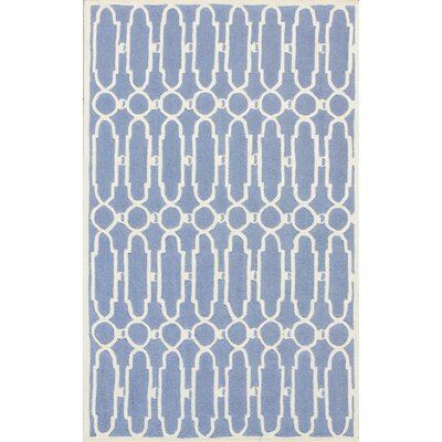 Janine Hand-Tufted Blue/Ivory Area Rug Rug Size: Rectangle 26 x 4