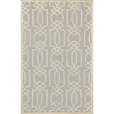 Kenton Hand-Tufted Gray/Ivory Area Rug Rug Size: 26 x 4