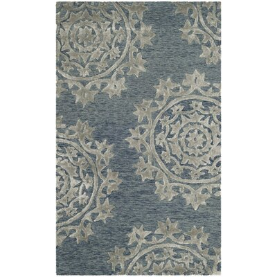 Mcguire Hand-Tufted Blue Indoor Area Rug Rug Size: Rectangle 3 x 5