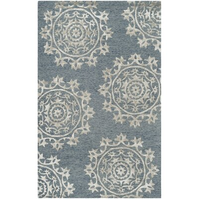 Mcguire Hand-Tufted Blue Indoor Area Rug Rug Size: Rectangle 5 x 8