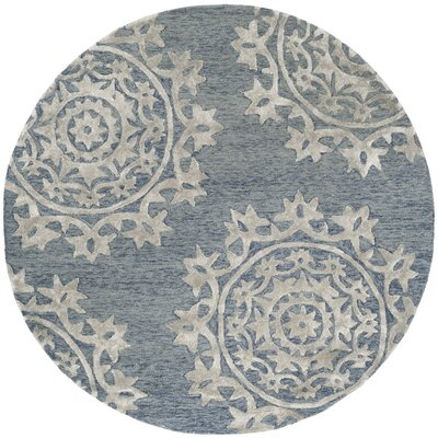 Mcguire Hand-Tufted Blue Indoor Area Rug Rug Size: Round 5