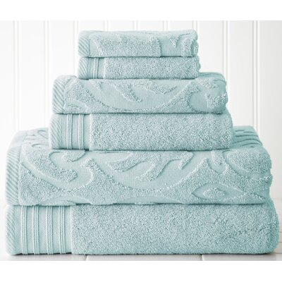 Solid 6 Piece Towel Set Color: Blue