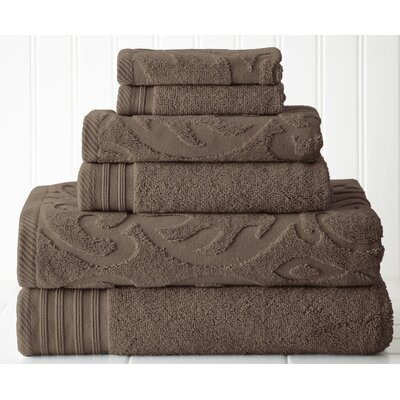 Durrah Solid 6 Piece Towel Set Color: Mocha