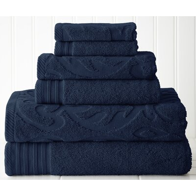 Solid 6 Piece Towel Set Color: Denim