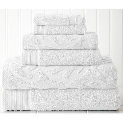 Durrah Solid 6 Piece Towel Set Color: White