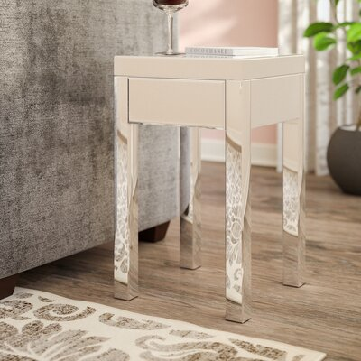 Valentina Mirrored 1 Drawer End Table Color: Silver Mirror