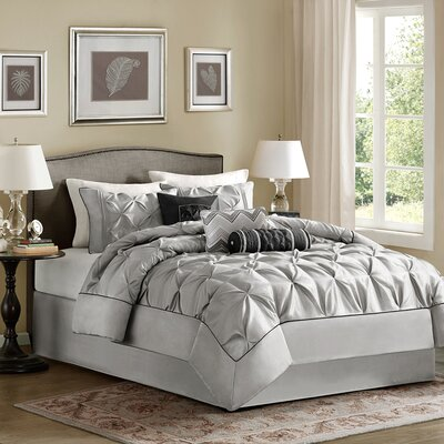 Benjamin 7 Piece Comforter Set Size: Queen, Color: Grey
