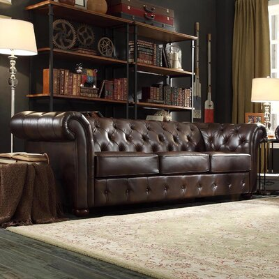 Augustine Tufted Sofa Upholstery: Brown