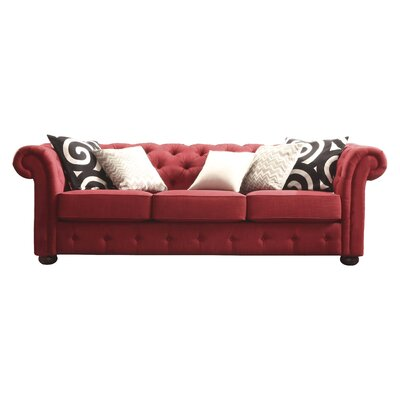 Augustine Tufted Sofa Upholstery: Red