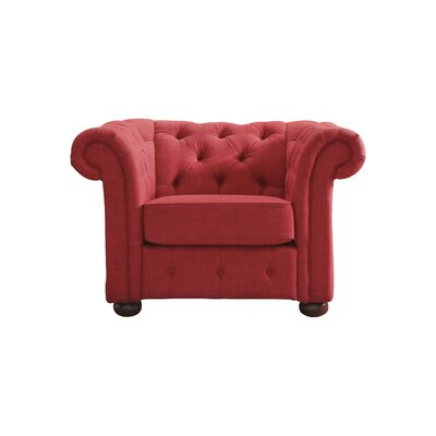 Vegard Tufted Button Armchair Upholstery: Red