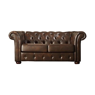Augustine Tufted Loveseat Upholstery: Brown Faux Leather