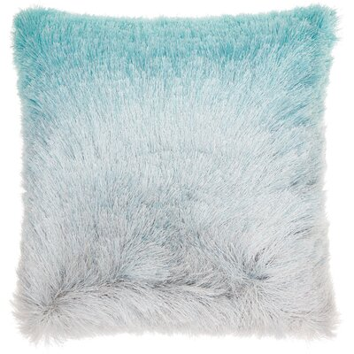 Fletcher Shag Throw Pillow Color: Turquoise/Silver