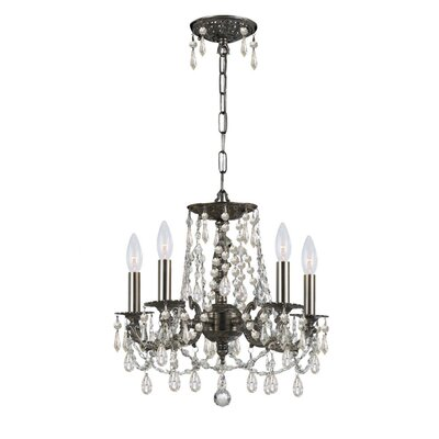 Frida 5-Light Crystal Chandelier Finish: Aged brass, Crystal: Golden Teak Swaroski Strass