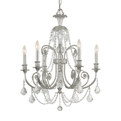 Frida 6-Light Crystal Chandelier Crystal Type: Swarovski Strass