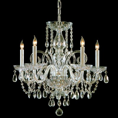 Caledonian 5-Light Crystal Chandelier Finish: Polished Brass