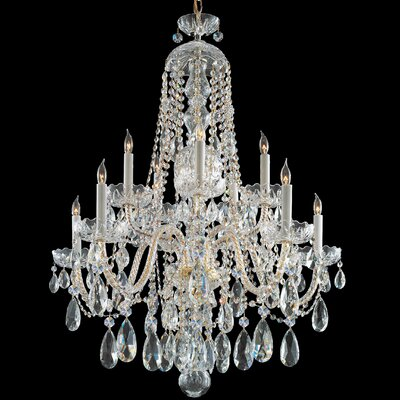 Careen 10-Light Crystal Chandelier Crystal: Swarovski Strass, Finish: Polished Brass