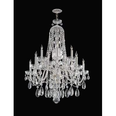 Careen 10-Light Crystal Chandelier Crystal: Majestic Wood Polish, Finish: Chrome