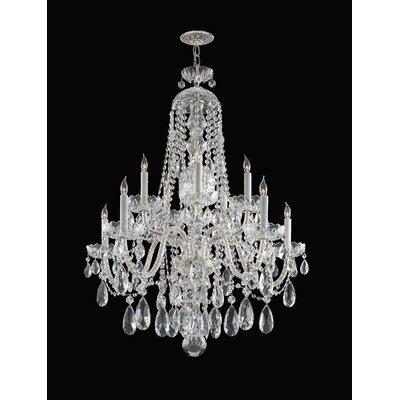 Edison 10-Light Crystal Chandelier Crystal: Majestic Wood Polish, Finish: Chrome
