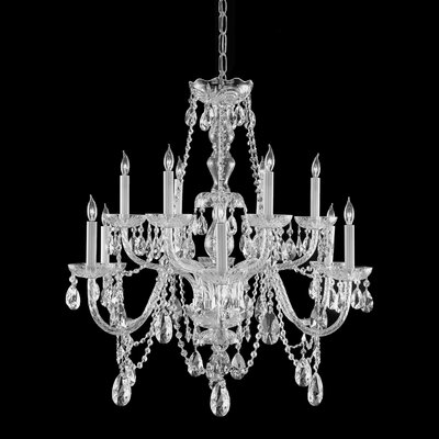 Careen Traditional 12-Light Crystal Chandelier Crystal: Majestic Wood Polish, Finish: Polished Brass