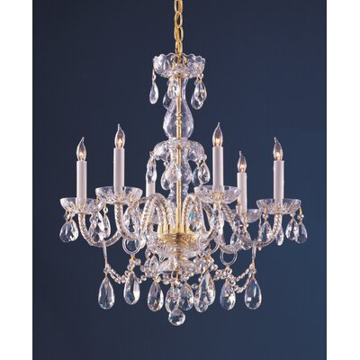 Careen Traditional 6-Light Crystal Chandelier Crystal Type: Clear Hand Cut