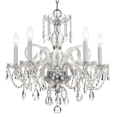 Careen 5-Light Glass Crystal Chandelier Finish: Polished Brass, Crystal: Swarovski Strass
