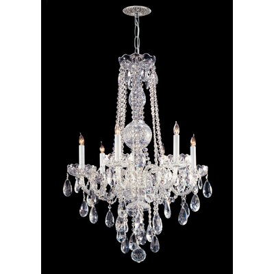 Edison 6-Light Crystal Chandelier Crystal Type: Hand Polished, Finish: Polished Brass