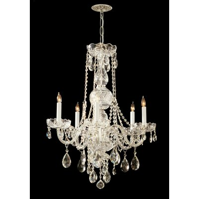 Edison 5-Light Crystal Chandelier Crystal Type: Hand Polished, Finish: Polished Brass