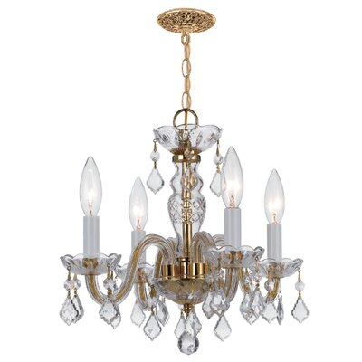 Careen 4-Light Crystal Chandelier Crystal Type: Swarovski Spectra, Finish: Polished Brass