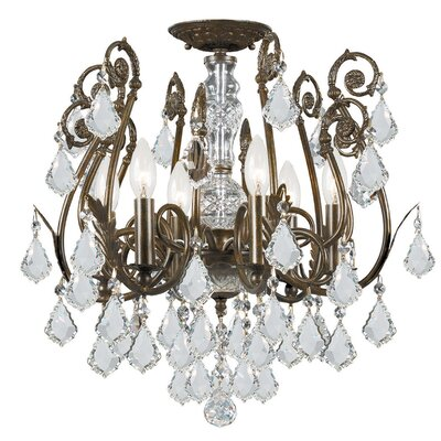 Axton 6-Light Semi Flush Mount Crystal Grade: Majestic Wood Polish