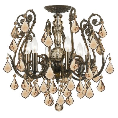 Axton 6-Light Semi Flush Mount Crystal Grade: Golden Teak Majestic Wood Polish