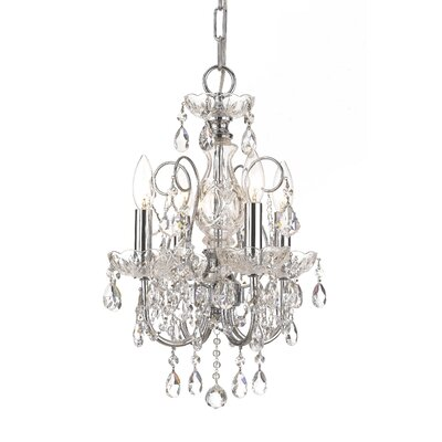Axton 4-Light Crystal Chandelier Crystal: Majestic Wood Polish