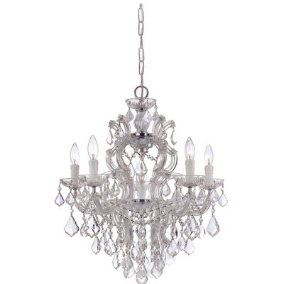 Griffiths 5-Light Crystal Chandelier Finish: Polished Chrome, Crystal Type: Hand Polished