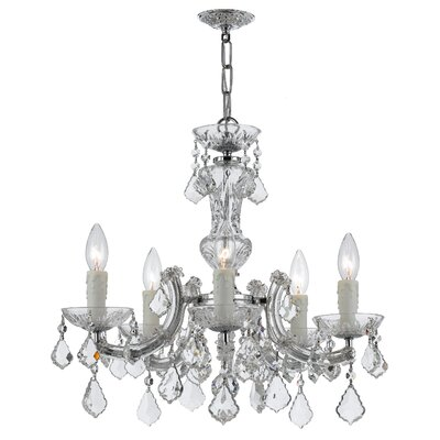 Griffiths 5-Light Crystal Chandelier Finish: Polished Chrome, Crystal Grade: Standard