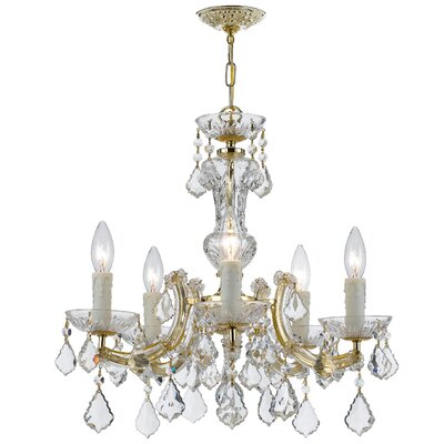 Griffiths 5-Light Crystal Chandelier Crystal Grade: Swarovski Elements, Finish: Gold