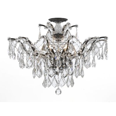 Griffiths 6-Light Semi Flush Mount Finish: Vibrant Bronze, Crystal Grade: Clear