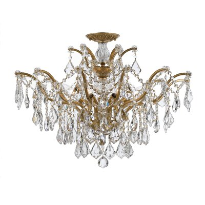 Griffiths 6-Light Semi Flush Mount Finish: Antique Gold, Crystal Grade: Swarovski Spectra
