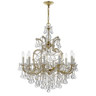 Griffiths 11-Light Crystal Chandelier Crystal Grade: Clear, Finish: Gold