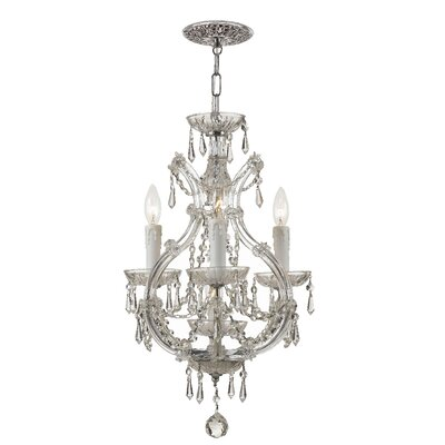 Griffiths 3-Light Candle Chandelier Finish: Polished Chrome, Crystal Type: Italian