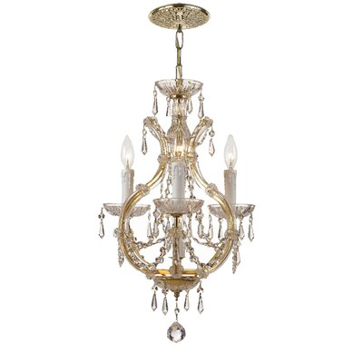 Griffiths 3-Light Candle Chandelier Crystal Type: Italian, Finish: Gold