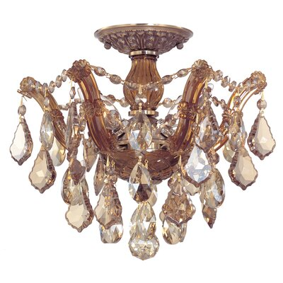 Griffiths 3-Light Semi Flush Mount Finish: Antique Brass, Crystal Type: Golden Teak Hand Polished