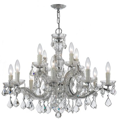 Griffiths 12-Light Crystal Chandelier Finish: Polished Chrome, Crystal Grade: Swarovski Elements