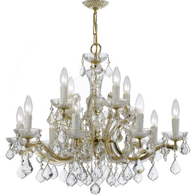 Griffiths 12-Light Crystal Chandelier Crystal Grade: Swarovski Spectra, Finish: Gold